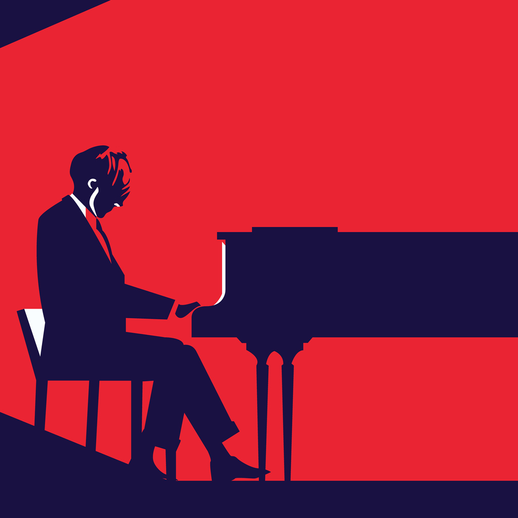 Pianist playing a grand piano over red background