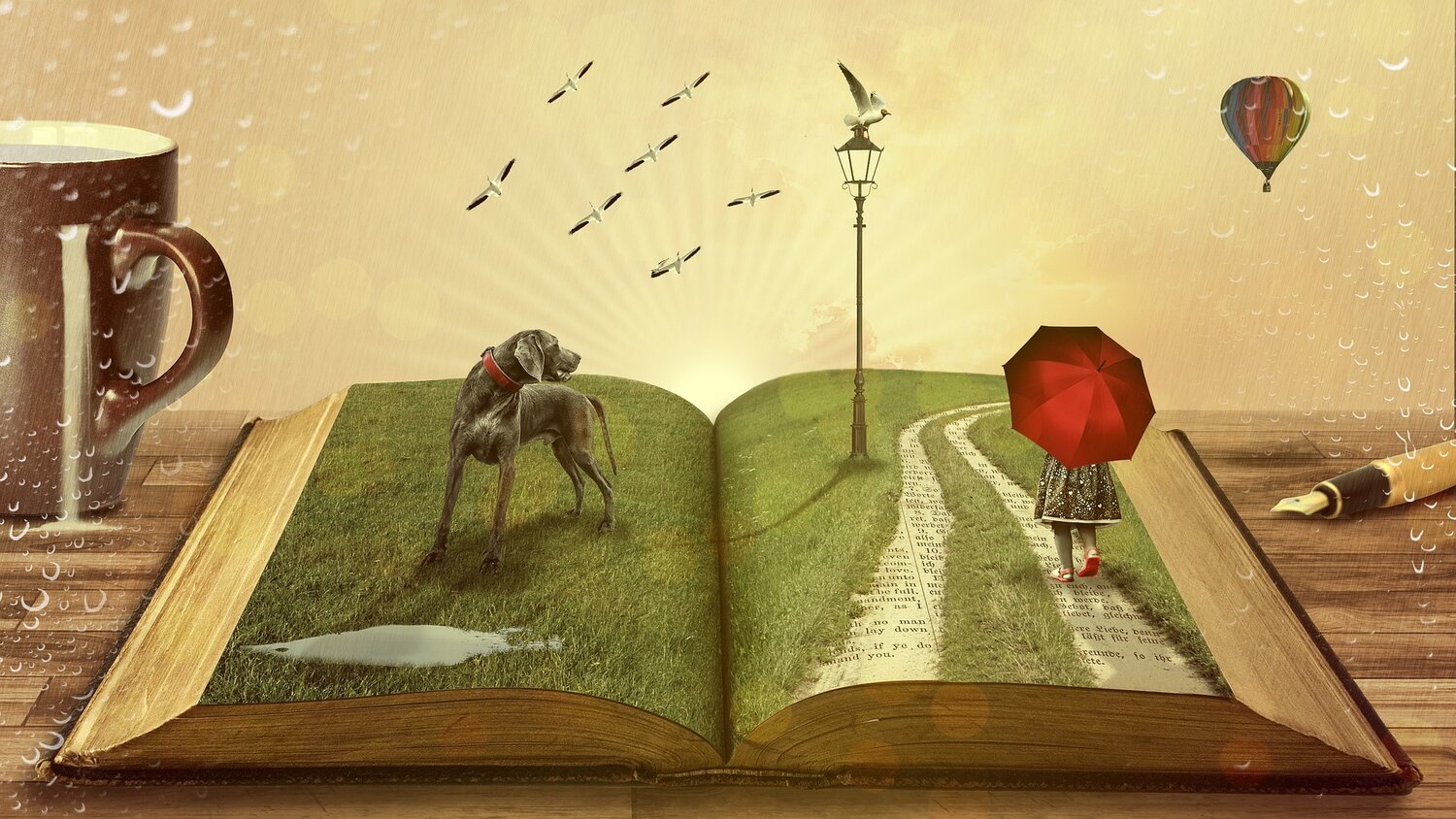 Open book with scene of dog and girl with red umbrella coming to life