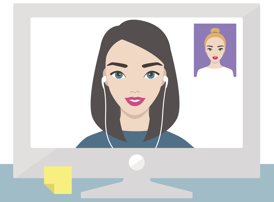 Two women videoconferencing